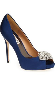 Navy blue wedding shoes do the crystals yourself so easy and half badgley mischka jeannie crystal trim open toe pump women available at bridal shoeswedding shoes badgley mischka shoes navy junglespirit Image collections