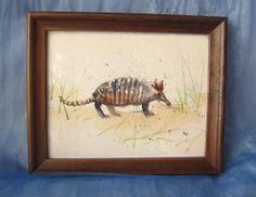 Vintage Hand Painted Watercolor Armadillo Wall by happybdaytome, $14.00