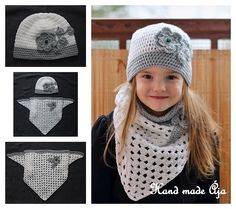 Jarní set Crochet Beanie Hat, Beanie Hats, Crochet Hats, Hat And Scarf Sets, Crochet Girls, Crochet Stitches, Cute Kids, Crochet Projects, Needlework
