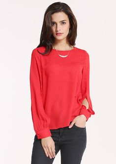 Red Round Neck Split Sleeve Loose Blouse 14.33