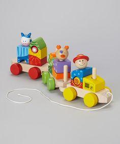 Look what I found on #zulily! Farm Animal Wooden Train Set #zulilyfinds