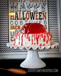 "<strong>Get the <a href=""http://www.lovefromtheoven.com/2012/10/08/creating-a-spook-tacular-halloween-with-kraft/"" target=""_blank"">Jell-O Brain Cake recipe</a> from Love From The Oven</strong>"