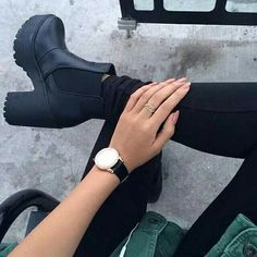 find your bliss // style // black and green // watch // black boots Black Heel Boots, Black Leather Boots, Black Heels, Heeled Boots, Shoe Boots, Shoes Heels, Winter Fashion Boots, Winter Boots, Grunge Boots