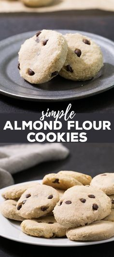 These almond flour cookies are low carb and naturally sweetened and taste like buttery shortbread, but without any butter at all. Make them with chocolate chips or your favorite mix-in. #grainfree #almondflour #glutenfree #glutenfreecookies