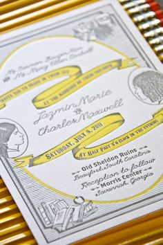 Charles + Jazmin's Silhouette Letterpress Wedding Invitations