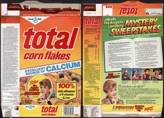 General mills cereal boxes | General Mills - Total Corn Flakes cereal box - Angela Lansbury Mystery ...