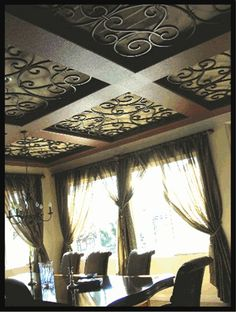 Faux Iron coffered ceiling - how cool would this be on a porch or sunroom? Would make a great greenhouse ceiling with glass. Ceiling Decor, Ceiling Design, Ceiling Ideas, Bedroom Ceiling, Vitrine Design, Gazebos, Wrought Iron Decor, Plafond Design, Ceiling Treatments