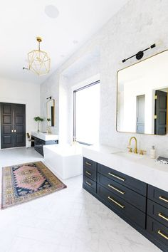8 Black Bathroom Cabinet Ideas That You'll Want to Copy Now Black Cabinets Bathroom, White Bathroom, Modern Bathroom, Master Bathroom, Black Vanity Bathroom, Black Bathrooms, Black And Gold Bathroom, Half Bathrooms, Neutral Bathroom