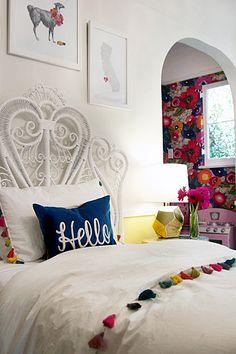 Tassel Bedding | Rattan Headboard | Floral Nook