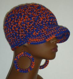 Orange and Blue Sports Team Crochet Baseball Cap and Earrings by Razonda Lee Razondalee Ready to Ship