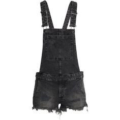 H&M Bib Overall Shorts Trashed $19.99 ($20) ❤ liked on Polyvore featuring shorts, j u m p s u i t & r o m p e r s, short overalls, overall shorts, overalls shorts, destroyed shorts and distressed denim shorts