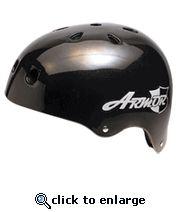 Armor Old School Longboard Skateboard Helmet Black