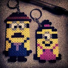 Minions keychains perler beads by josieepoo