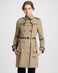 Patent-Trim Gabardine Trenchcoat by Burberry London at Neiman Marcus.