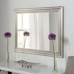 Modern Silver Framed Mirror 76 x 60cm