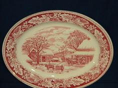 Homer Laughlin Currier Ives Prints Home to Thanksgiving Oval Turkey Platter  ~♥~