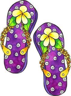 flip flop clipart. purple with yellow flower flip flops flop clipart