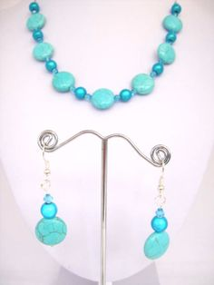 Handmade Turquoise Flat button  miracle bead necklace  earrings set only £11.00 from www.njs-jewellery.co.uk