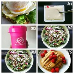 Last post for the day I promise! I was super hungry today so I take that as a good thing . M1 ○ 1 toast, 2 eggs, avo and basil. M2 ○ quest strawberry protein shake with water. M3 ○ big bowl of salad M4 ○ coconut tofu dessert  M5 ○ 2nd bowl of salad M6 ○ 1 serving @kodiakcakes protein pancakes with pb2, low sugar syrup & raspberries with tea. That salad was soooo good which is why I had it twice. It came in a bag already to go with toppings (sunflower seeds & dried cranberries) & dressing.
