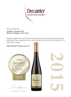 Hoje trazemos-vos a medalha de ouro do #Soalheiro Clássico 2014 no Decanter World Wine Awards. Considerado por alguns o maior e mais influente concurso mundial de vinhos.  Today we bring you the #Soalheiro Clássico 2014 Gold Medal at the Decanter World Wine Awards. Consider by some, the world's largest and most influential wine competition.