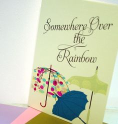 Some Where There's A Rainbow Card Pink by piecesofaprilmel on Etsy, $1.25