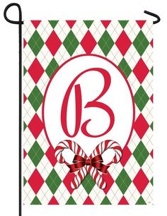 Argyle Christmas Letter B Monogram Garden Flag
