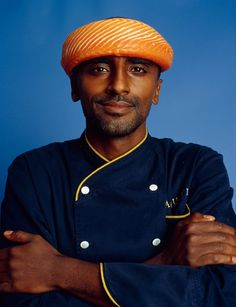 Marcus Samuelsson - this is a neat idea in terms of thinking about a photo shoot of Garcia, wearing a salmon as a head wrap. Think about other foods you could do this with - Cuban foods specifically.