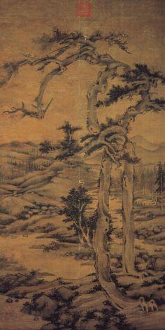 Twin Pines, Level Distance - Wu Zhen (吳鎮, 1280-1354)