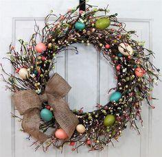 STORM DOOR Wreath - Easter Egg Wreath - Spring Wreaths - Easter Wreaths - Front Door Wreath -  Spring Home Decor - Farmhouse Decor - Rustic by Designawreath on Etsy