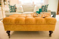 Rx Reveal: Harwood family room Room Rx  Ballard Designs Ottoman in COM fabric