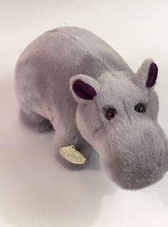 """Gund Vintage 1990 Gund TULIP Purple Hippo Hippopotamus Plush Toy Stuffed 12"""" #Gund"""