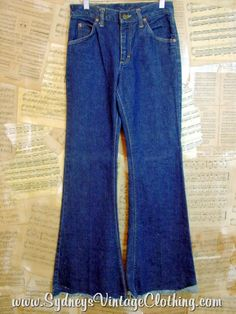 Vintage Lee 70's Dark Indigo Flare Bell Bottom Denim Jeans