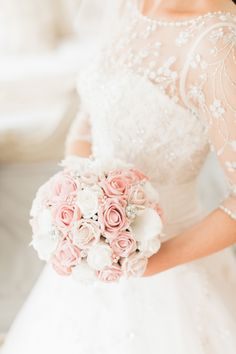 Ronald Joyce for an elegant wedding at Eshott Hall. Pink and white wedding bouquet.  Image by Katy Melling Photography.  Read more: http://bridesupnorth.com/2016/07/15/all-loved-up-ronald-joyce-for-an-elegant-wedding-at-eshott-hall-jill-thomas/