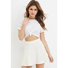 Forever 21 Forever 21 Women's  Floral Mattelasse Skater Skirt ($6) ❤ liked on Polyvore featuring skirts, flared skirt, white knee length skirt, white flared skirt, print skater skirt and forever 21