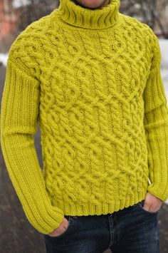 knitted sweater for men's , handmade work, lemon color, very soft merino Mens Winter Sweaters, Mens Cable Knit Sweater, Male Sweaters, Mens Fashion Sweaters, Knitwear Fashion, Hand Knitted Sweaters, Men Sweater, Winter Cardigan Outfit, Pullover