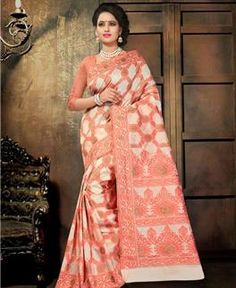 Picture of Stunning Off White And Orange Designer Saree