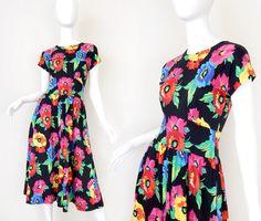 Sz 4 Adrienne Vittadini Vintage 80s Floral Print Maxi Dress