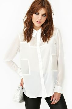 Block Out Blouse in White