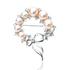 Circle Pearl Brooch With Bowknot