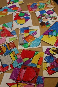 A lesson in shape, Mondrian, and oil pastels