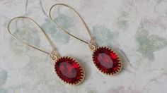 Ruby Rhinestone Earrings Anniversary Gifts by ArtistInJewelry