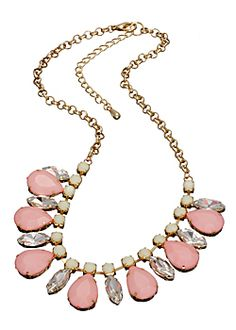Pretty in Pink? We think so! This bib necklace will give off a rosy glow! Less than $30