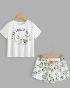 Avocado Print Top And Bow Front Shorts Pyjama Set Pajama Outfits, Pajama Shorts, Cute Outfits, Cute Pajama Sets, Cute Pjs, Cozy Pajamas, Summer Pajamas, Cute Sleepwear, Loungewear