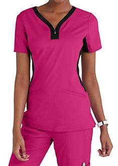Healing Hands Purple Label Jessi Y-neck Contrast Knit Side Panels Scrub Tops Spa Uniform, Scrubs Uniform, Dental Scrubs, Scrubs Outfit, Phlebotomy, Healing Hands, Scrub Sets, Side Panels, Caregiver