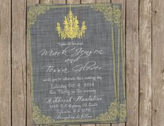 Wedding Invitation, chandelier, yellow & gray, Digital file, Printable