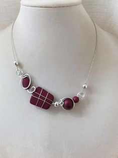 Your place to buy and sell all things handmade Purple Necklace, Purple Jewelry, Wire Necklace, Wire Wrapped Necklace, Short Necklace, Silver Necklaces, Wire Jewelry, Handmade Jewelry, Contemporary Jewellery