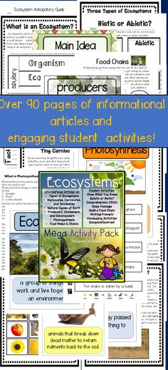 This Ecosystems Unit and Activity Pack includes  Informational Articles and Activities perfect for teaching all about ecosystems and food chains for grades 3-5!