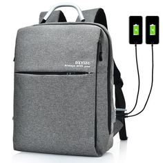 15.6 Inch Multi Pocket Dacron Backpack Solid Laptop Bag With Dual USB Charger & Rain-Proof Cover - Banggood Mobile