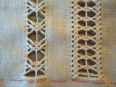 El placer de bordado: SEGUIMOS con sfilature Cutwork Embroidery, Embroidery Designs, Embroidery Stitches, Drawn Thread, Bobbin Lace, Needle Lace, Needle And Thread, Hand Weaving, Canadian Smocking