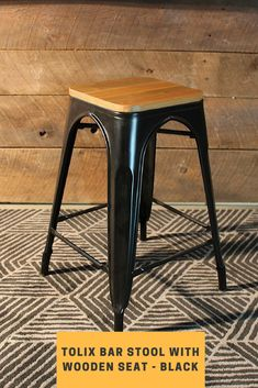 The Tolix bar stool has become an icon of mid-century furniture. Robust and elegant, the Tolix stool has become a quintessential piece in the cafe collection. Black Counter Stools, High Bar Stools, Designer Bar Stools, Mid Century Furniture, Home Kitchens, Furniture Design, Bright, French, Elegant